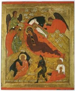 Рождество Христово. Икона. Первая половина XVI века. Вологодский краеведческий музей.