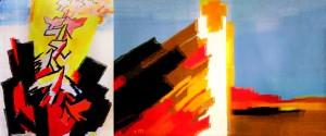 «Тропарь ко Кресту» Триптих. Художник Ольга Толстикова. Шерсть, лен, ручное ткачество.